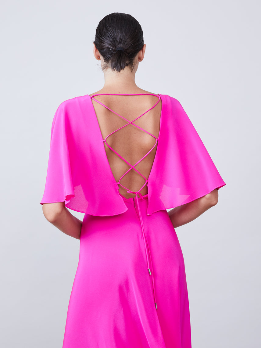Capelet cross tie back mid length slit dress