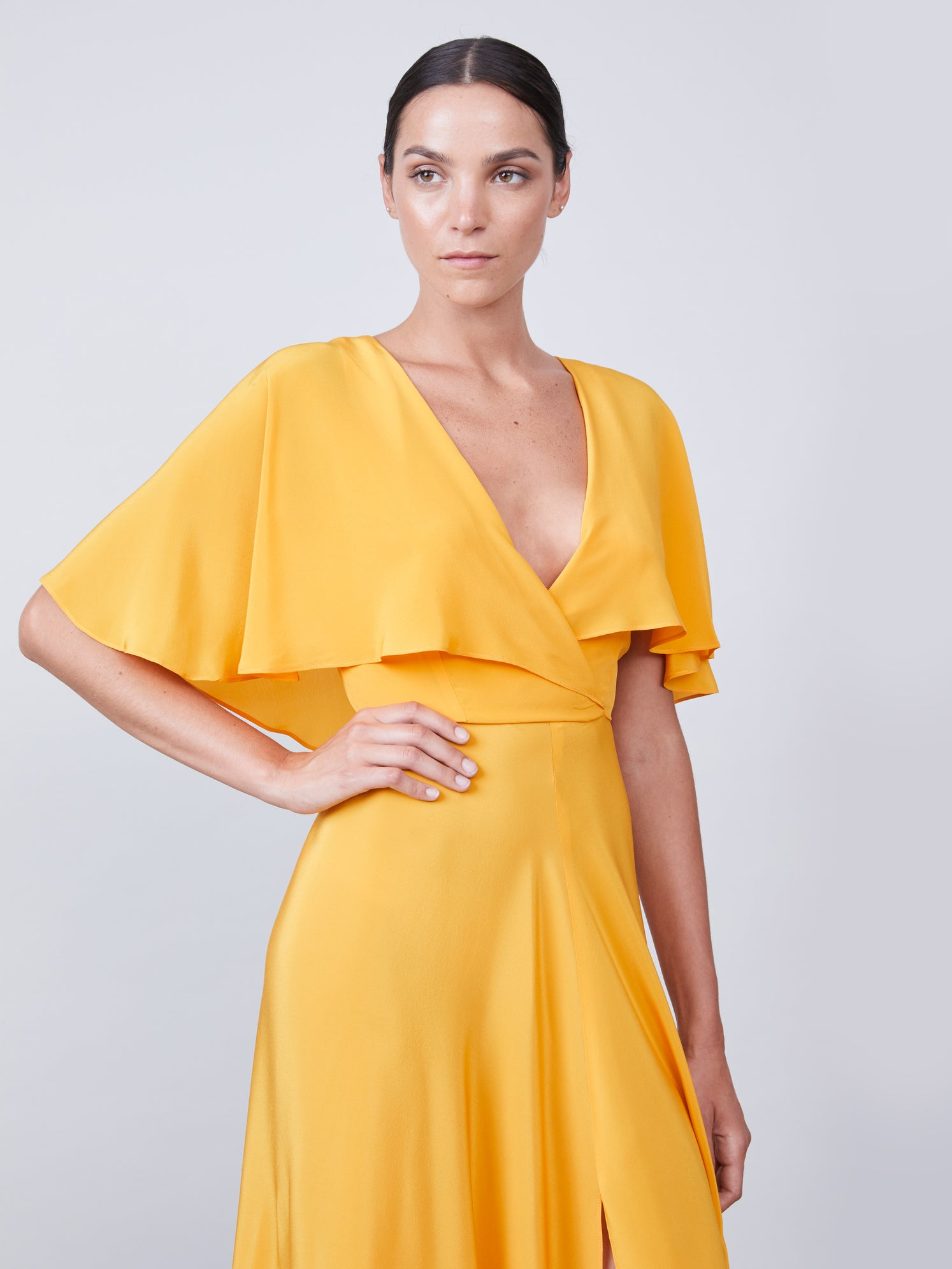 Silk capelet dress with front slit