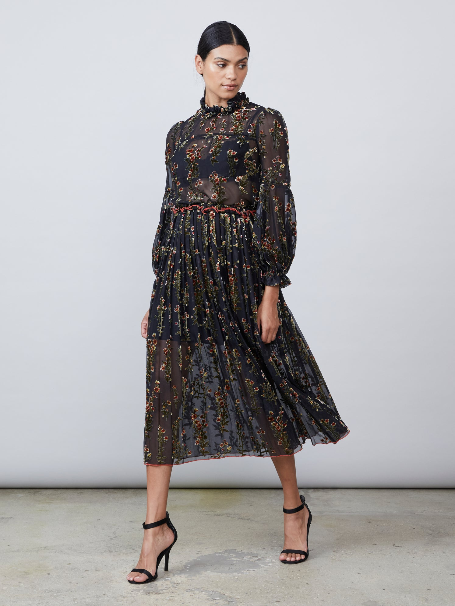 Printed mesh with velvet appliqué pleated skirt