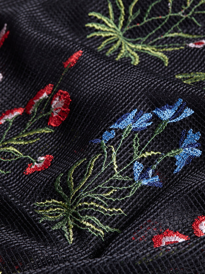 Floral embroidered mesh fabric