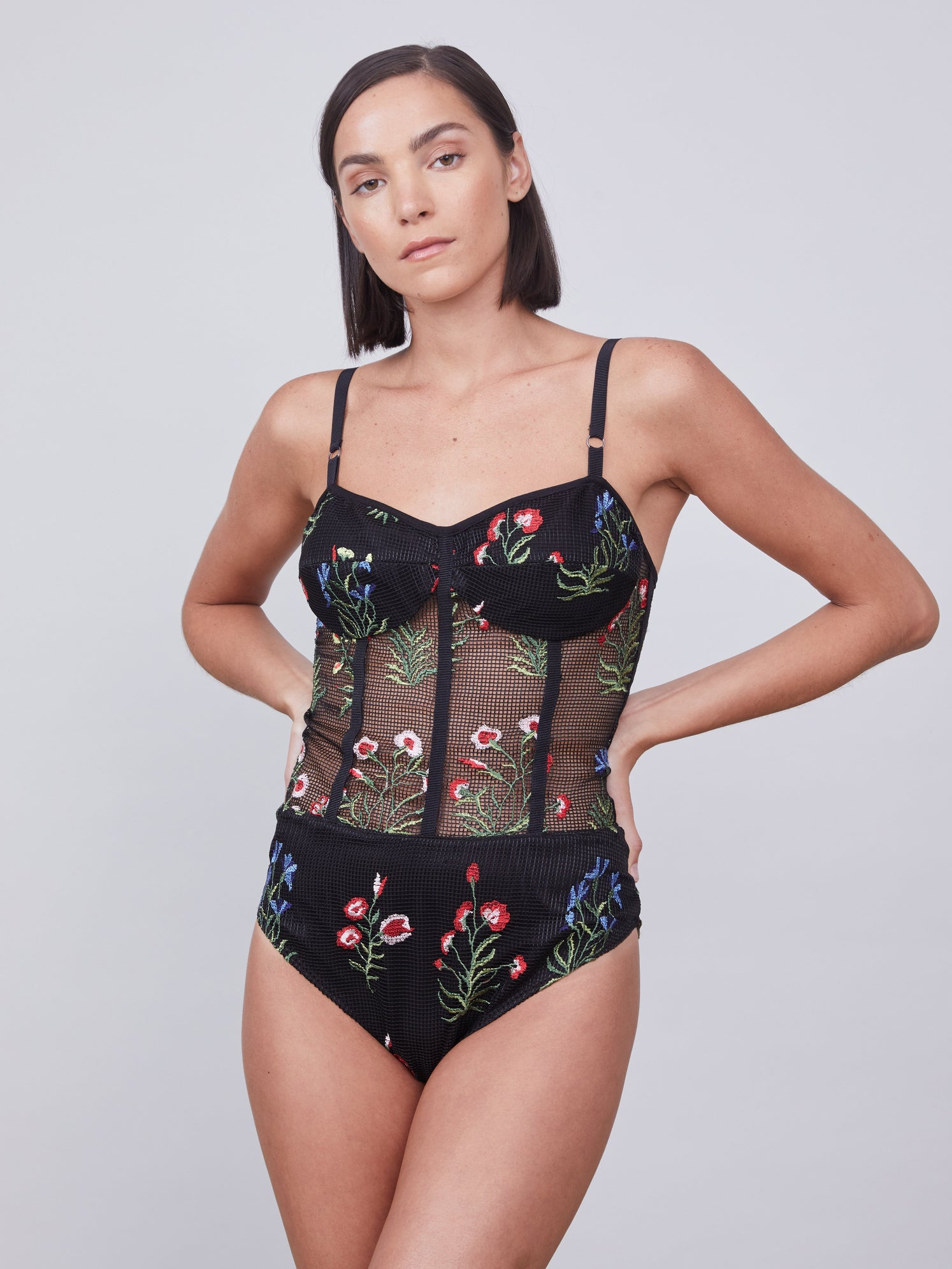 Embroidered mesh bustier bodysuit