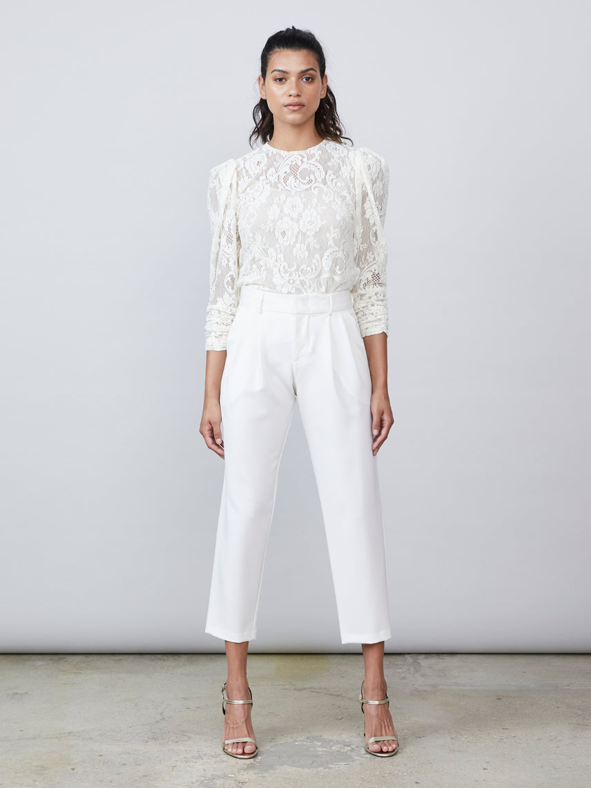 Ivory cropped pleated pant