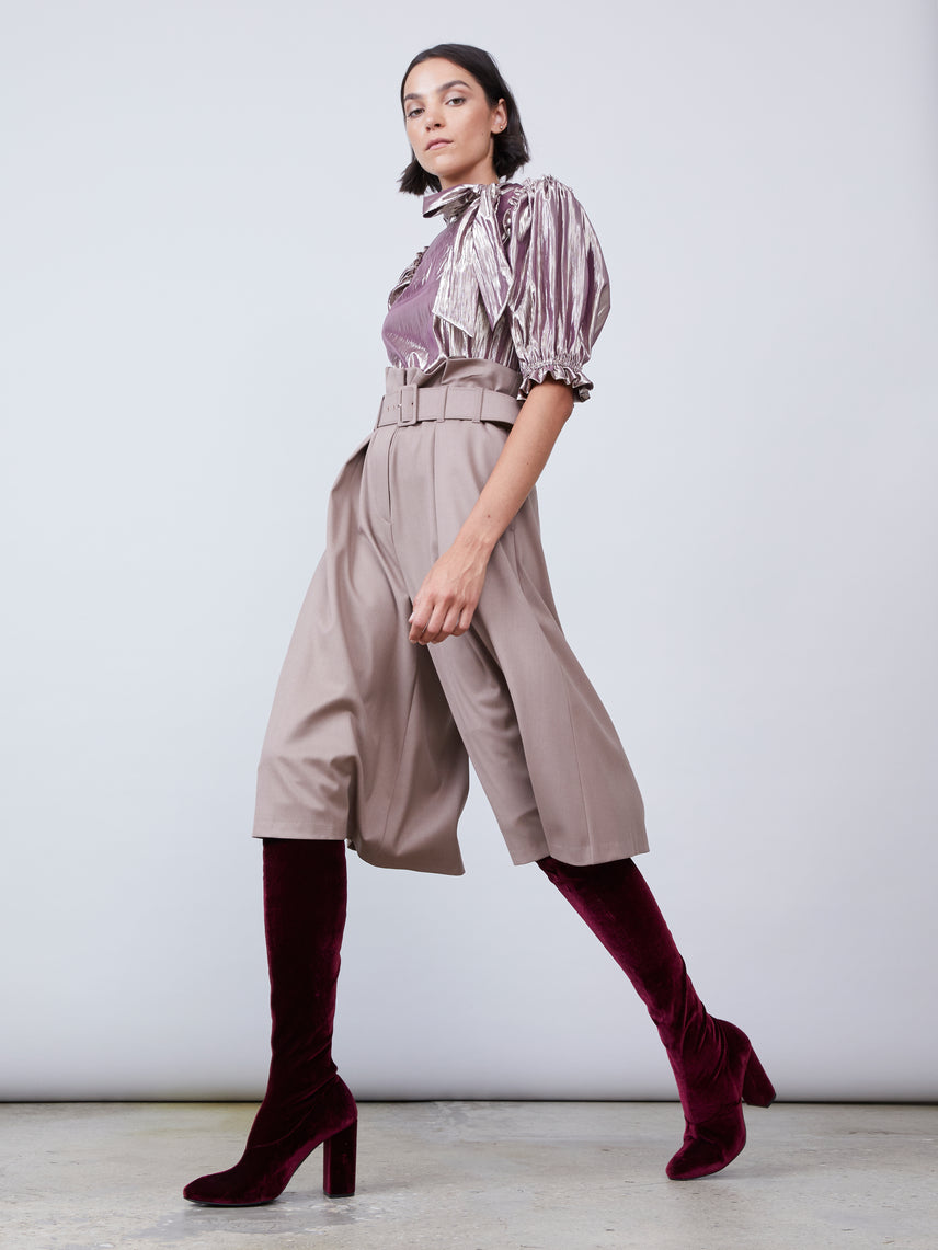 High waisted twill culotte with paperbag waist