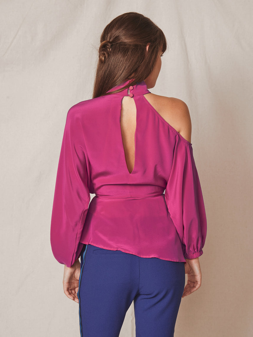 Silk magenta wrap top with cutout shoulder and mock neck Alternate