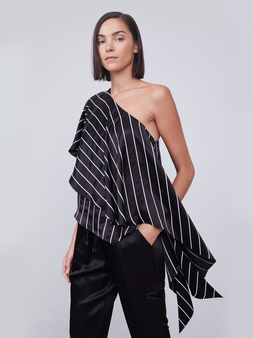 Striped ruffled one shoulder top