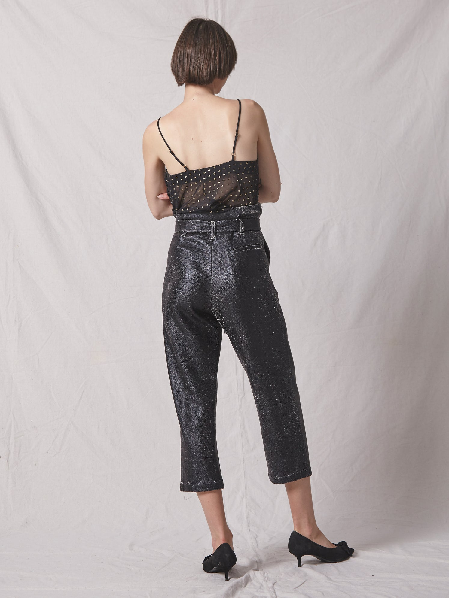 High-rise foiled knit jersey cropped pant with paperbag waist and drapey tie belt Alternate