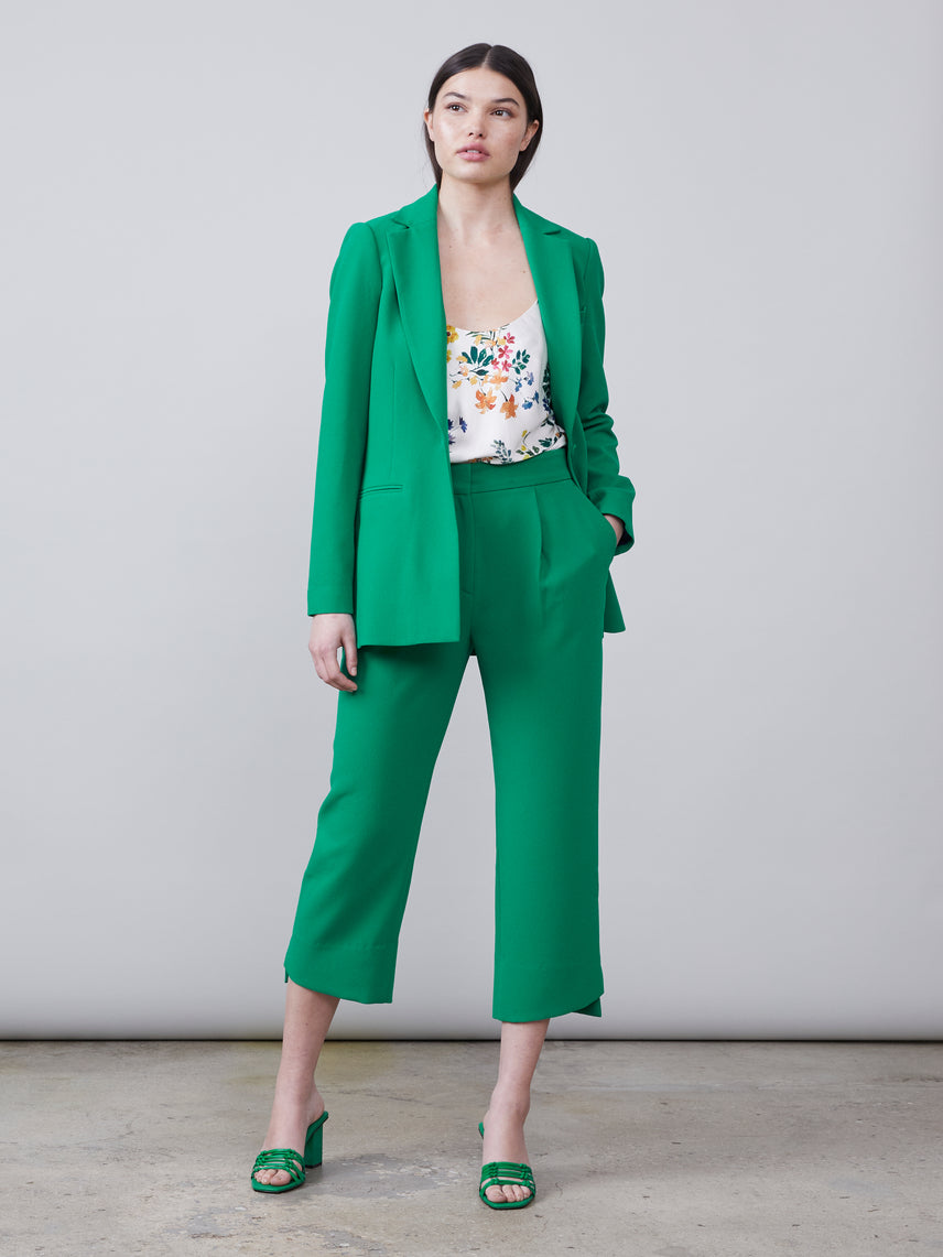 Nissa Blazer and Tracy Pant in green with Alannah Cami underneath