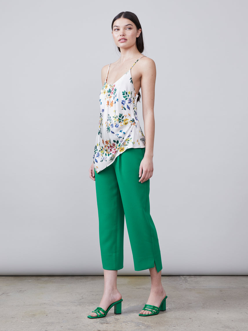 Full body front view of Alannah asymmetrical floral print v-neck cami