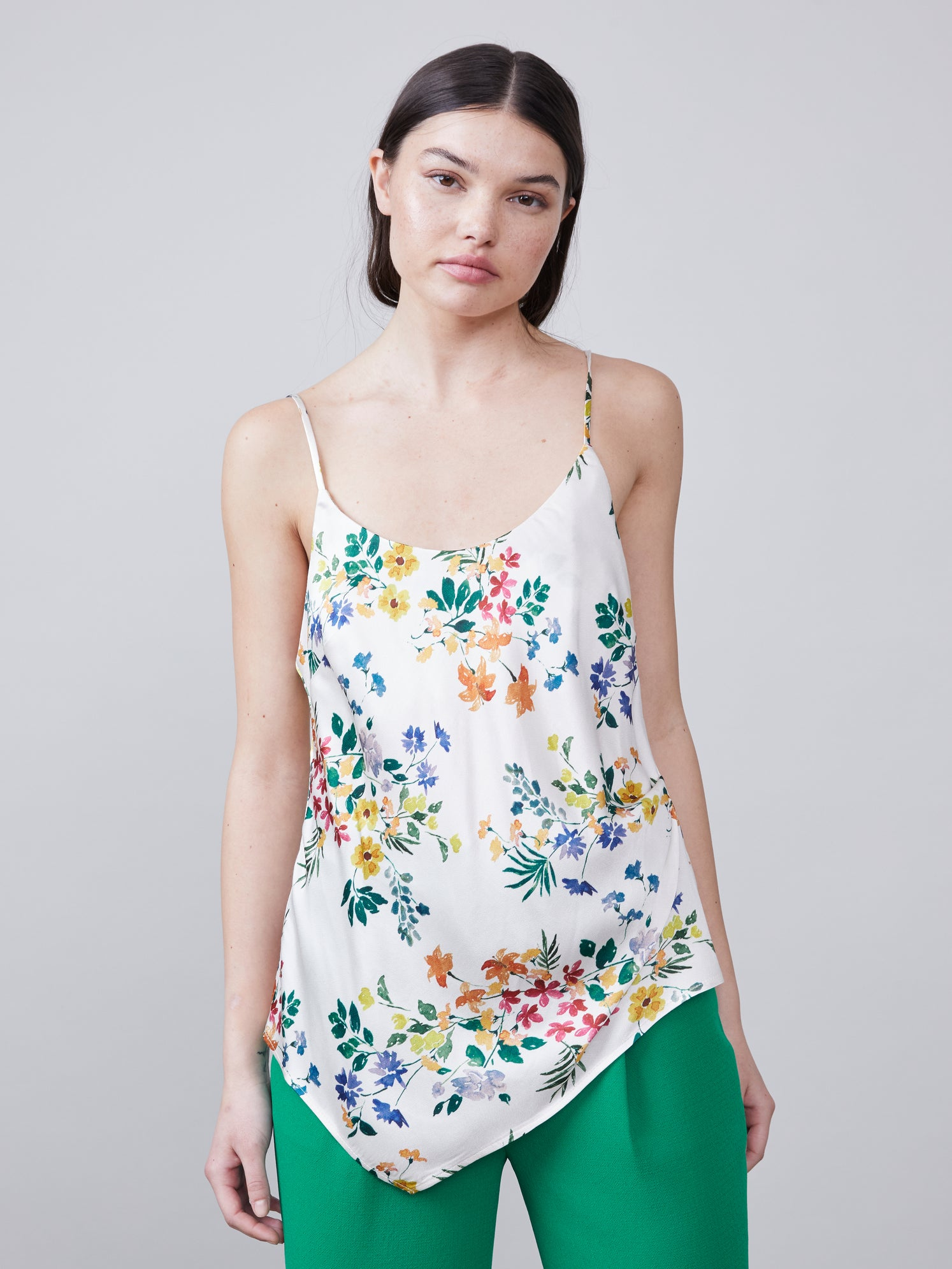 Front view of Alannah asymmetrical floral print v-neck cami