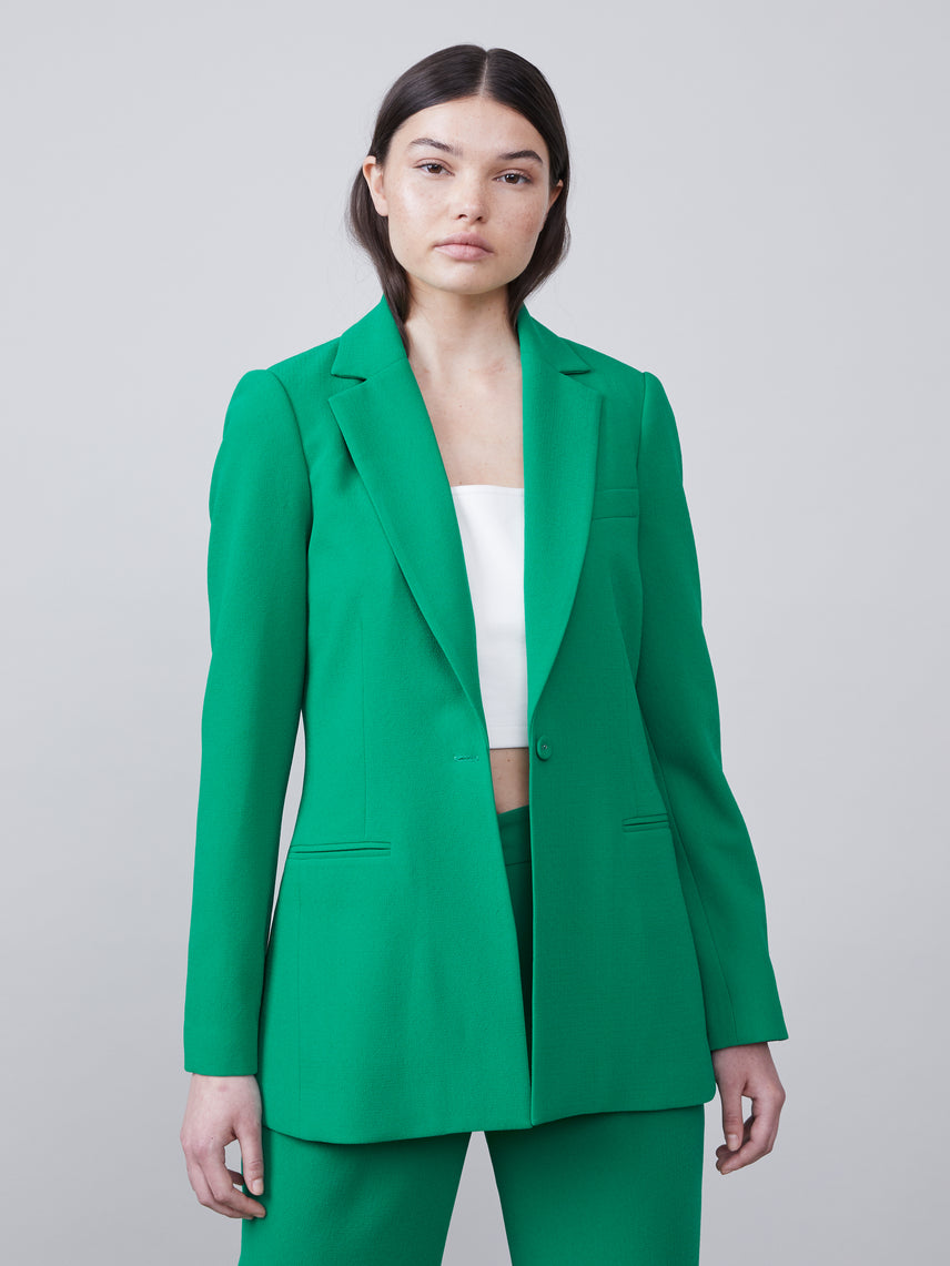 Front unbuttoned view of the Nissa Blazer in kelly green