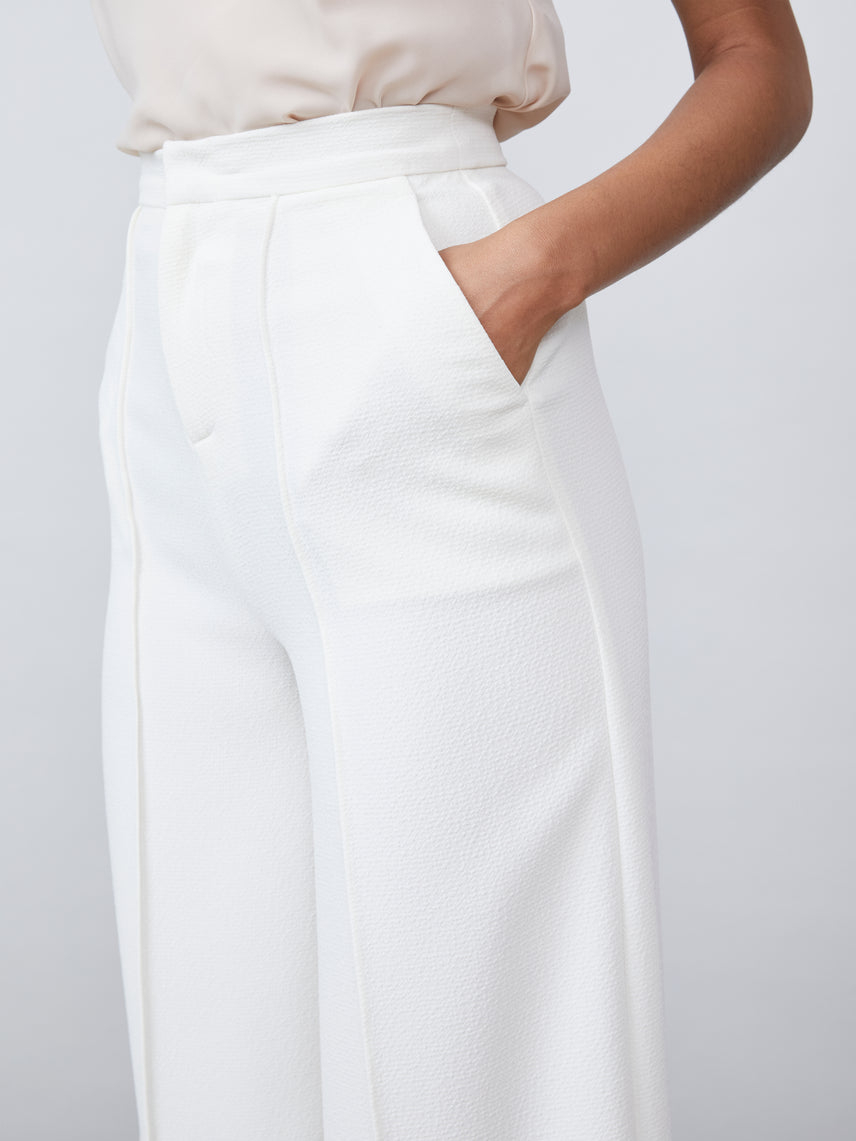 Wide straight leg side pocket crepe pant