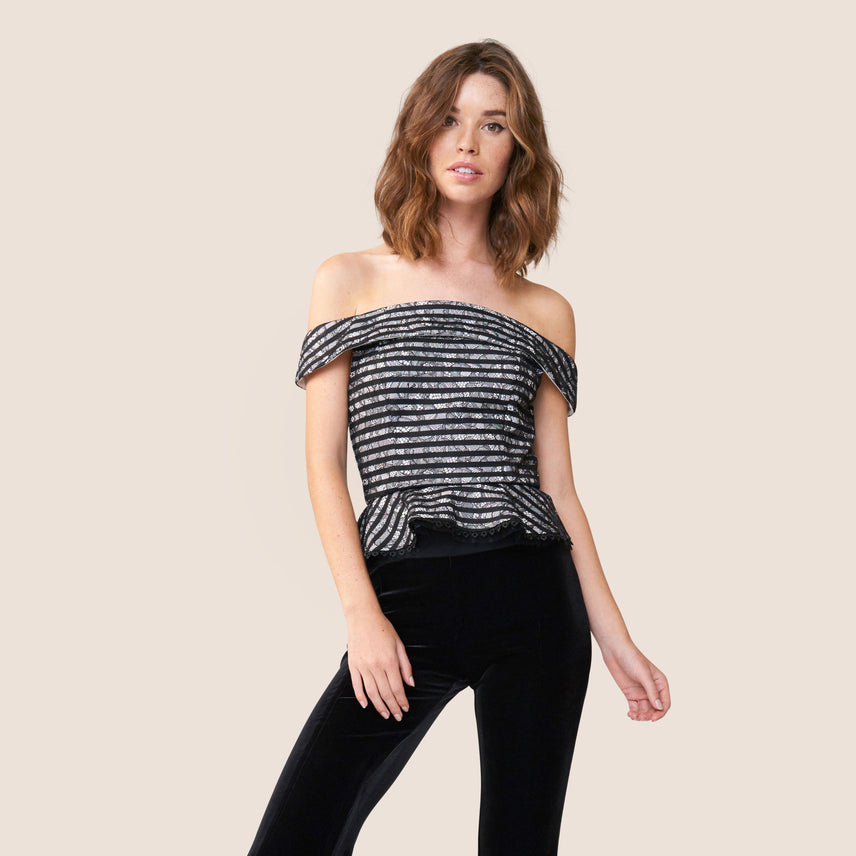 Off shoulder striped lace peplum top