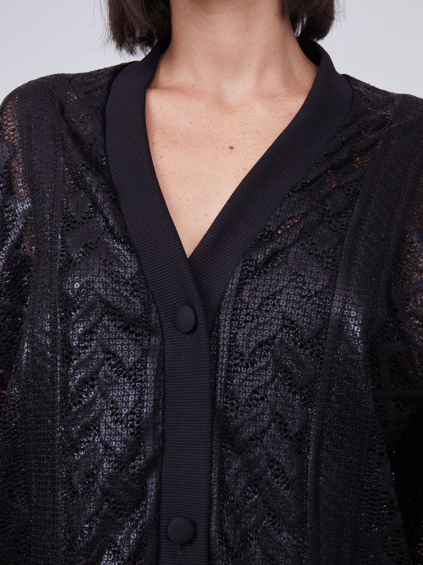 Black cardigan with front pockets Alternate