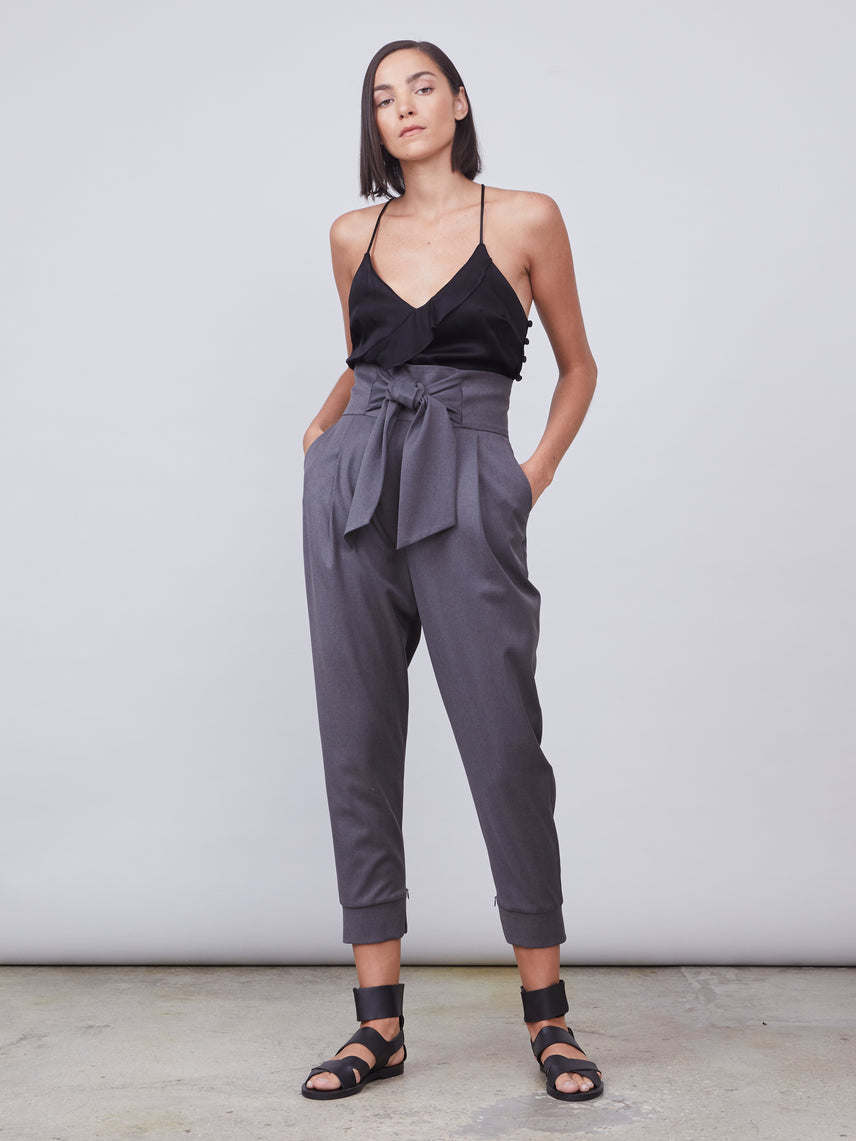 Cuffed trousers with tie waist