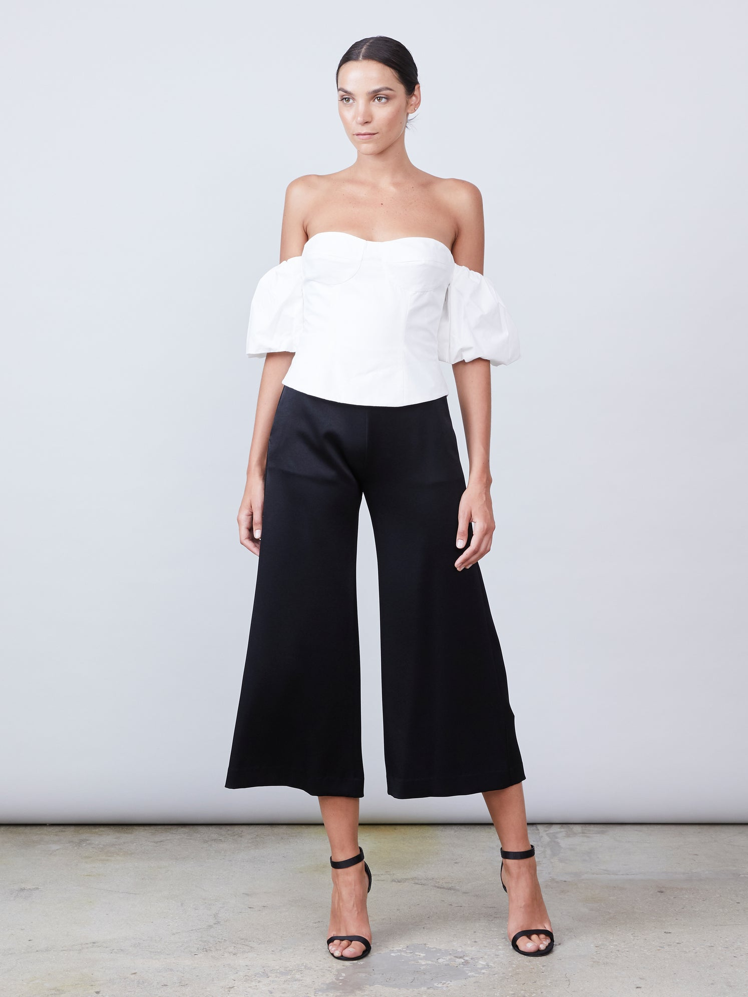 Bustier cotton poplin top with puff sleeves