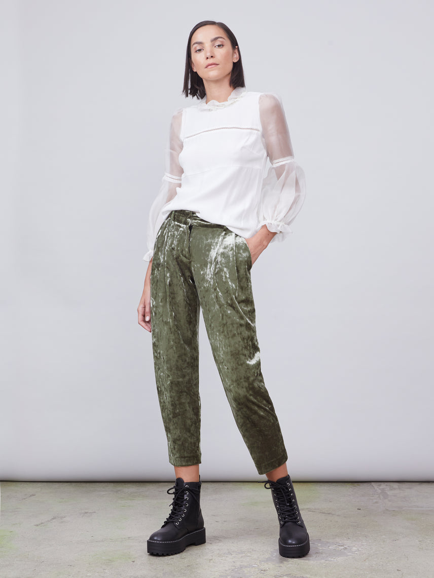 Olive green crushed velvet cropped pants