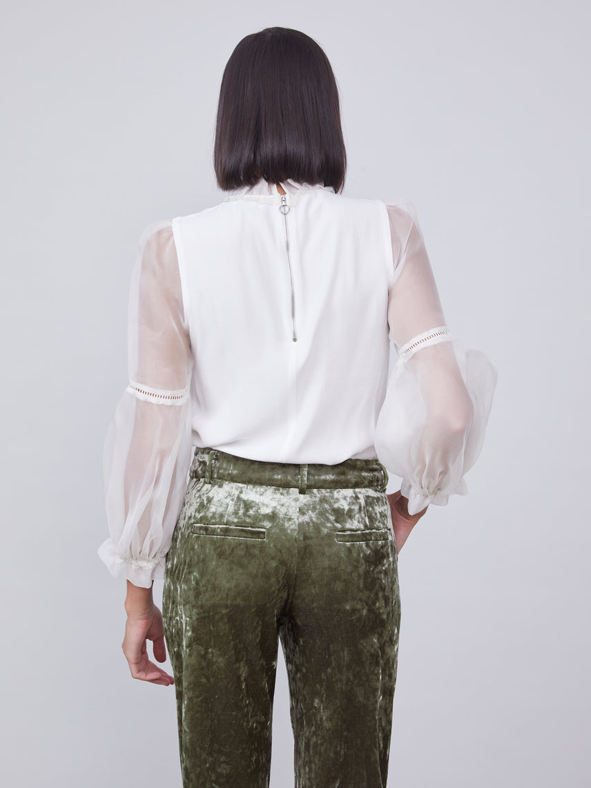 Olive green crushed velvet cropped pants Alternate