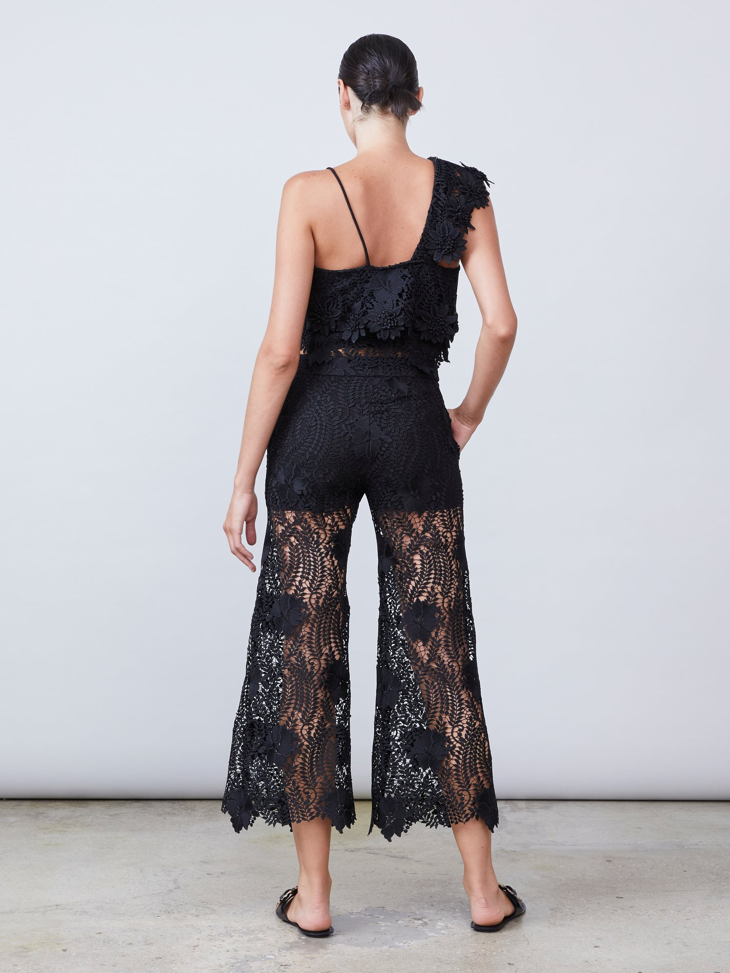 Black lace straight leg culotte