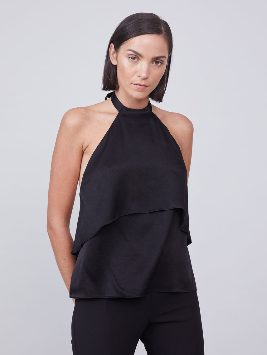 Halter top with draped overlay and back neck tie