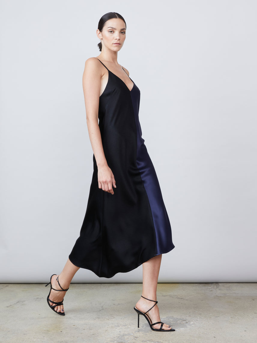 Vintage satin v neck slip dress with asymmetrical hemline