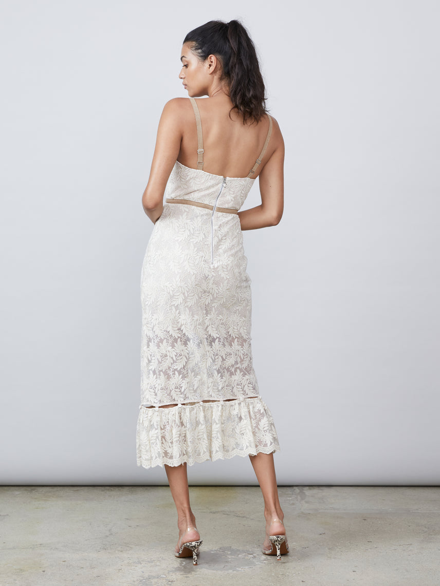 Bustier embroidered lace detachable ruffle dress