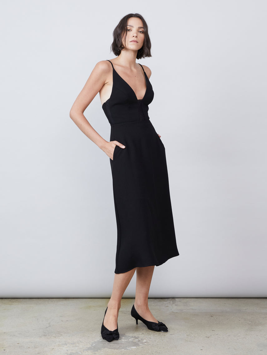 A-line midi dress with mesh panels and side pockets Alternate