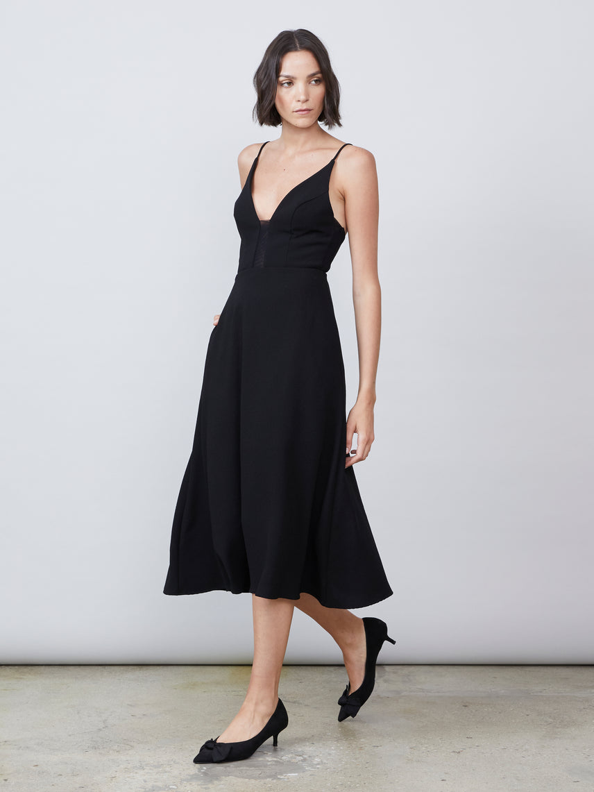 A-line midi dress with mesh panels and side pockets