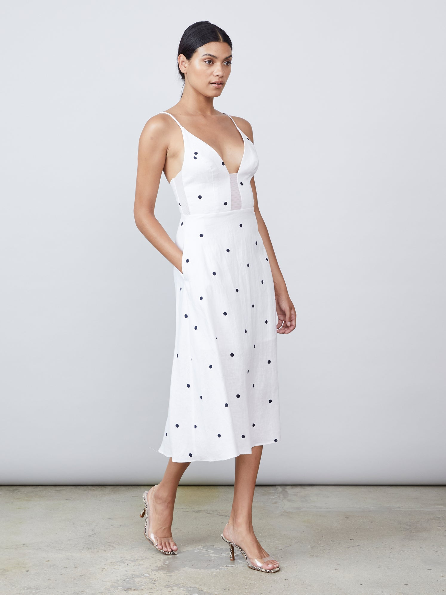 Linen illusion mesh bodice and side panel midi length dress