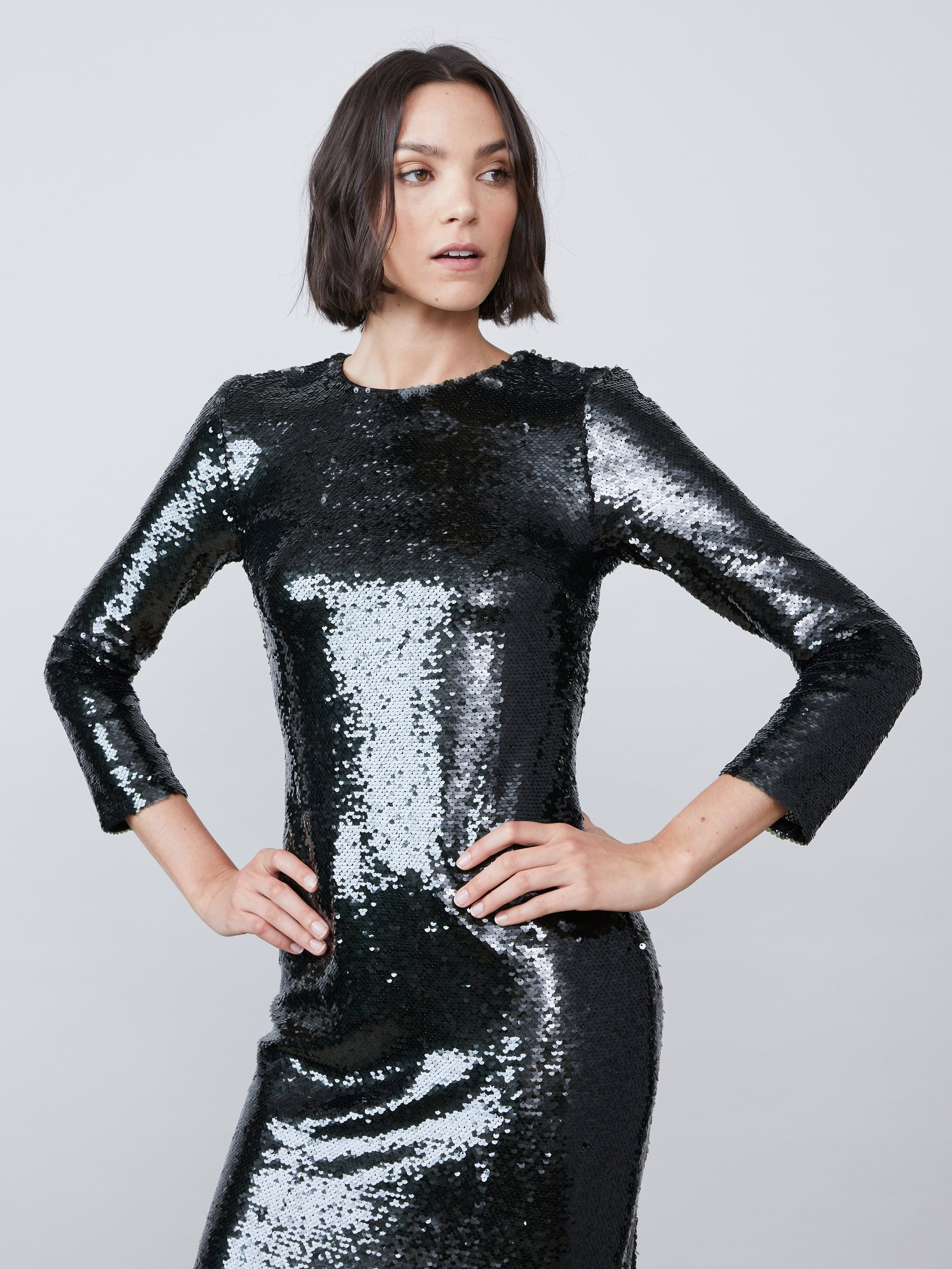 Sequin exposed back 3/4 sleeve midi dress Alternate