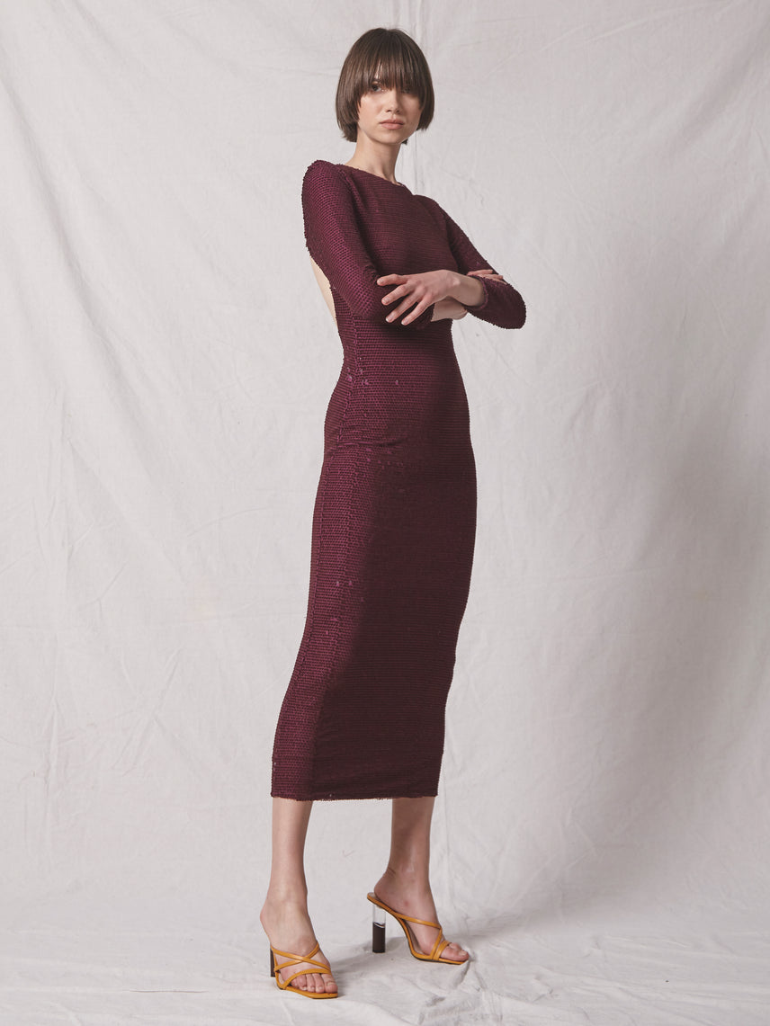 Velvet sequin midi dress with exposed back and 3/4 sleeves