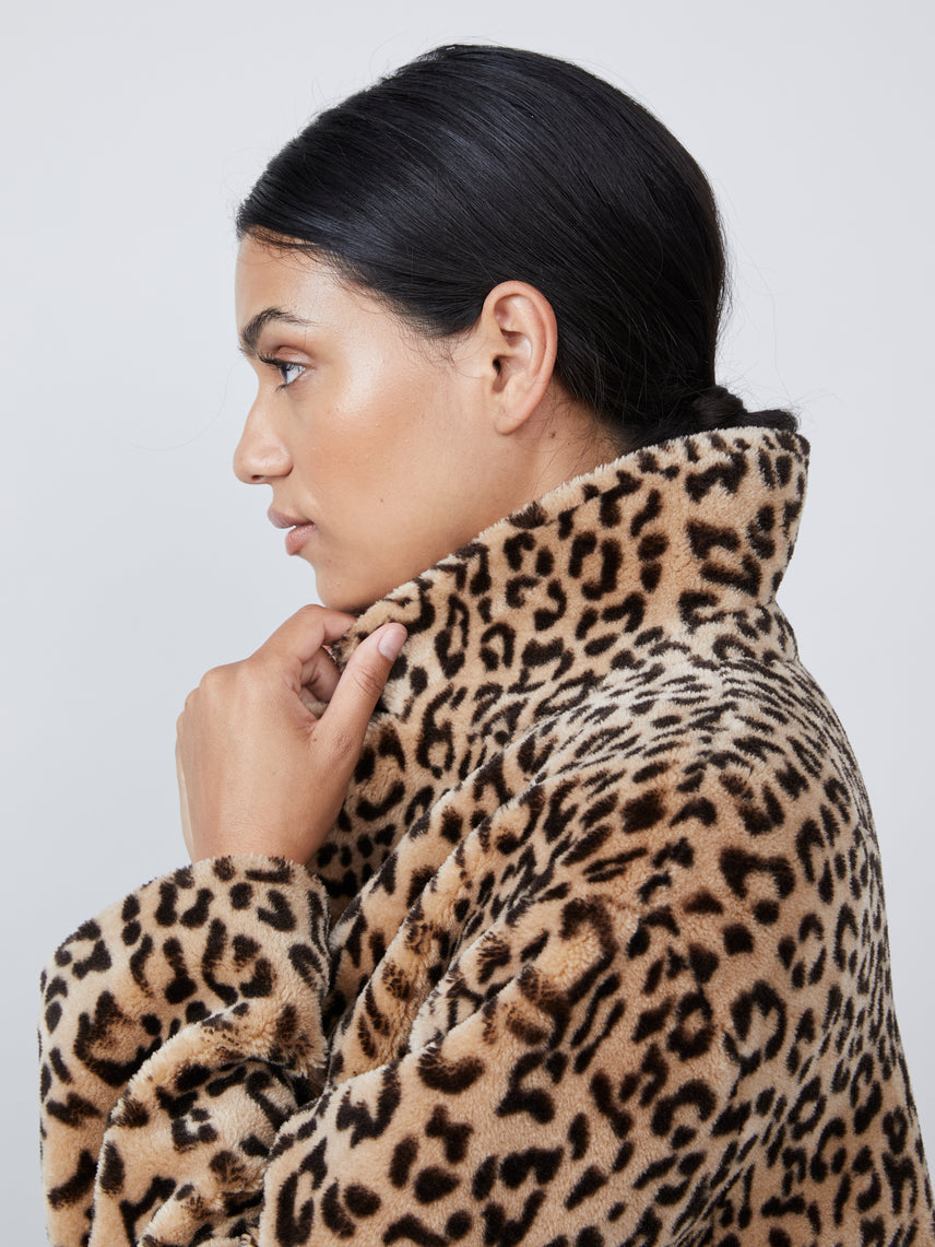 Leopard print faux fur coat Alternate