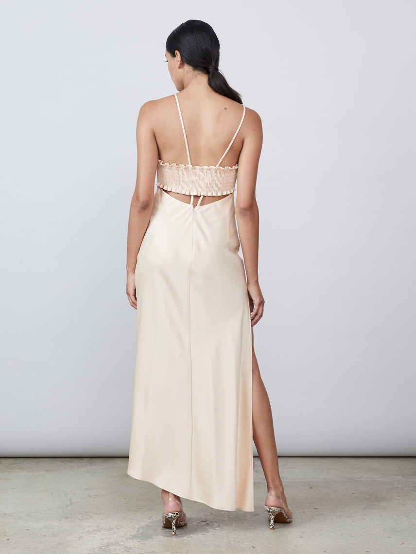 Square neck slip dress with leg slit and asymmetrical hemline