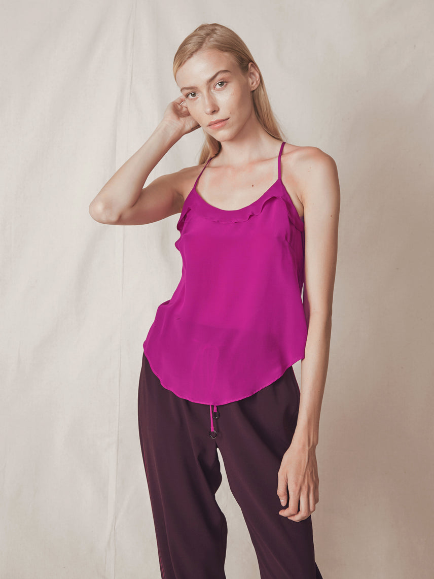Silk cami with scoop neckline and racerback