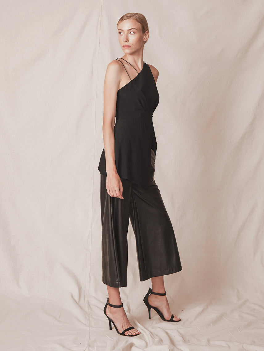 Asymmetrical hemline top with front side slit and double spaghetti strap