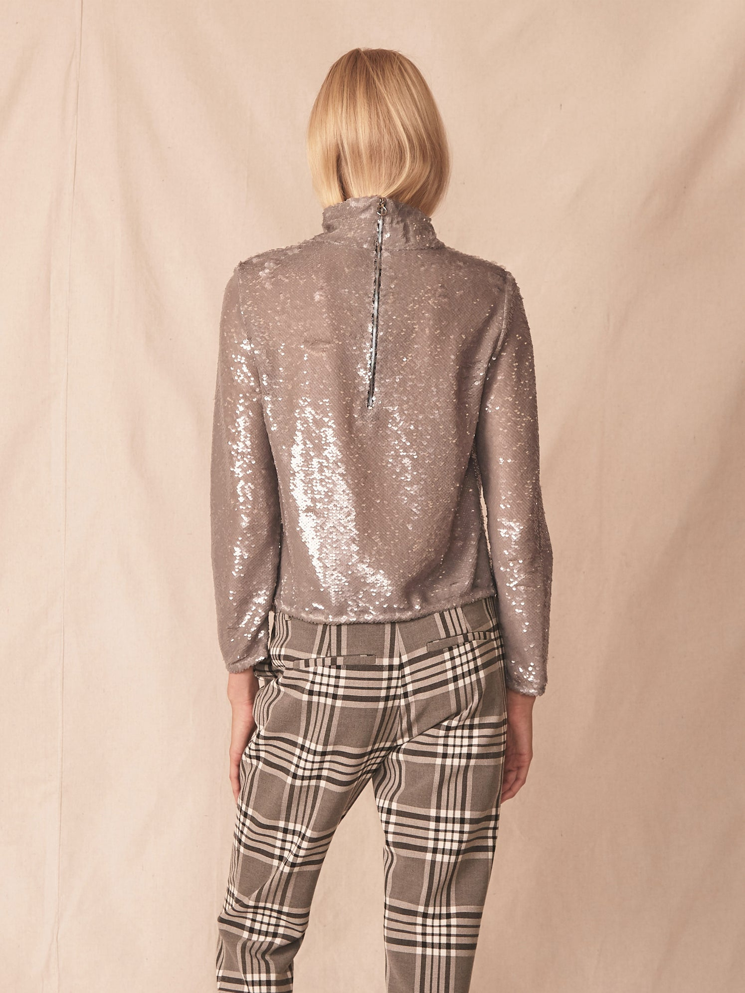 Semi-sheer sequin turtleneck