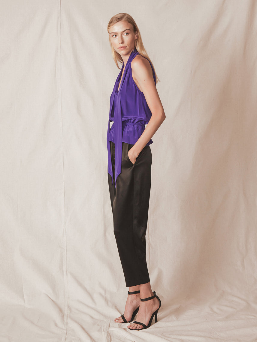 One shoulder cap sleeve v-neck attached neck tie cinched waist silk blouse