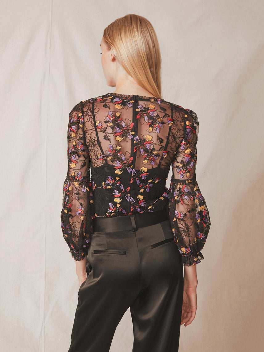 Floral embroidered sheer lace blouse with puff sleeves and optional camisole liner Alternate
