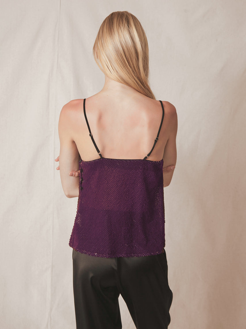 Velvet sequin cami with cowl neckline and side button detail