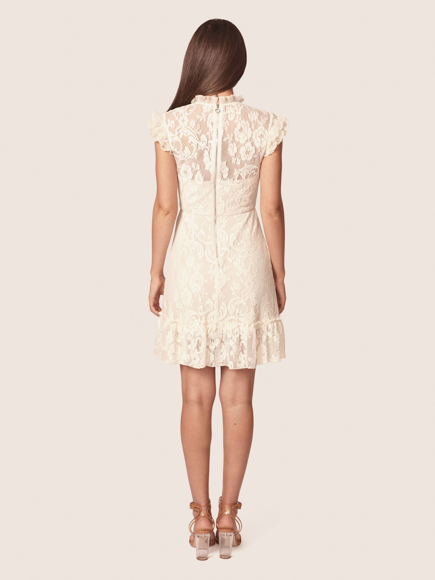 Stretch lace victorian mini dress with ruffled cap sleeves and mock neck