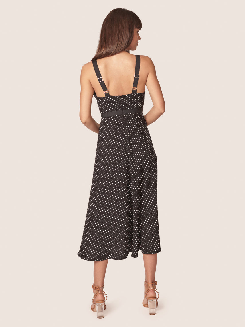 Polka dot printed bustier dress with front slit Alternate