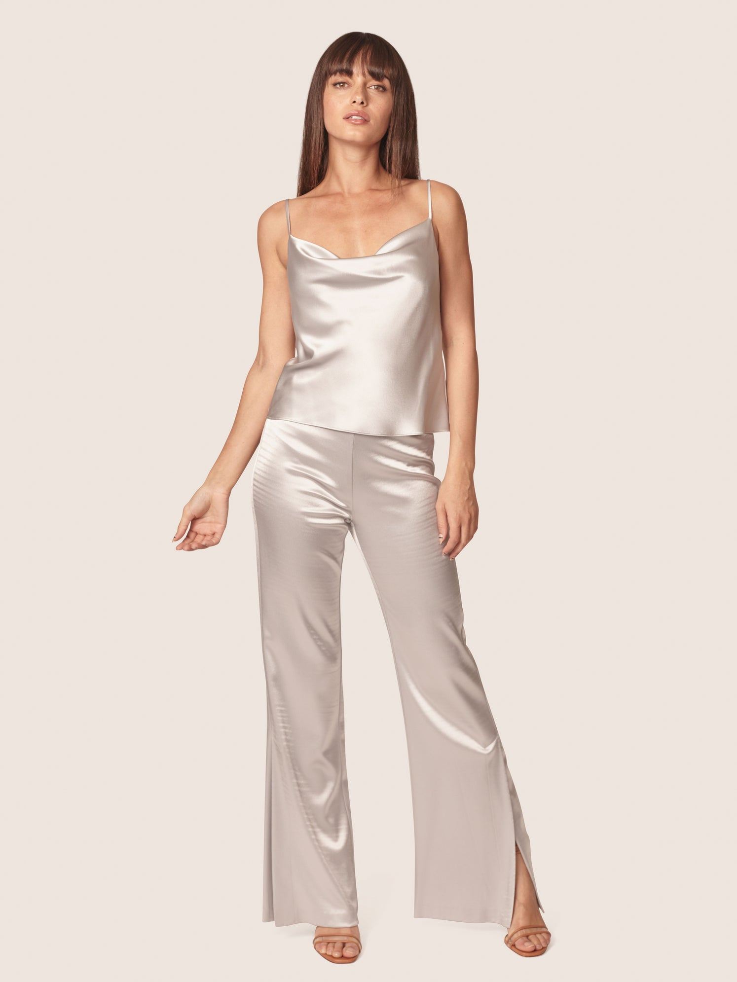 Silver satin cowl neck cami with matching satin pants