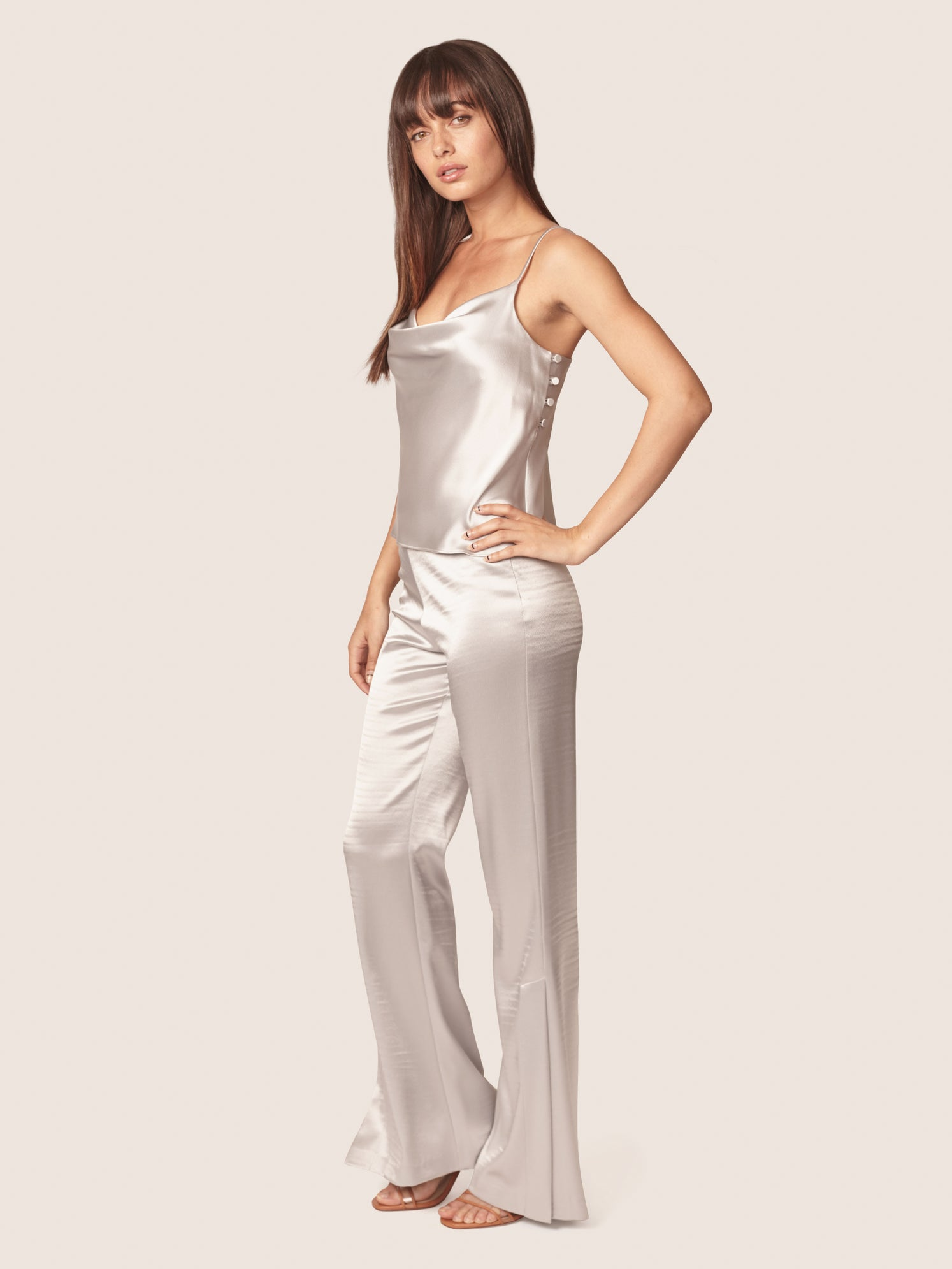 Silver satin pant with side slits