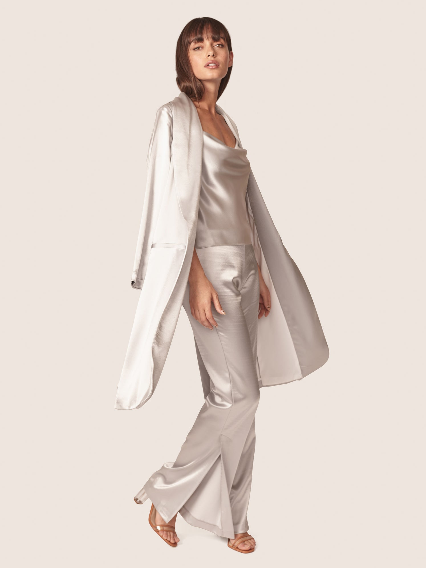 Silver satin duster length jacket