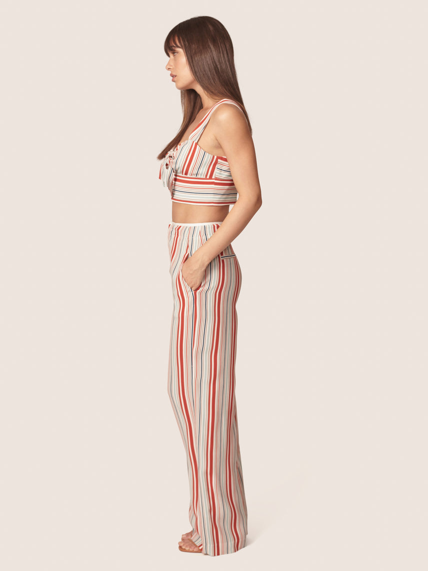 Striped crop top with front tie and matching high waisted pant Alternate