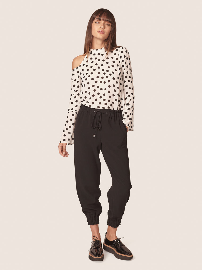 Polka dot print cut out shoulder blouse with split bell sleeves Alternate