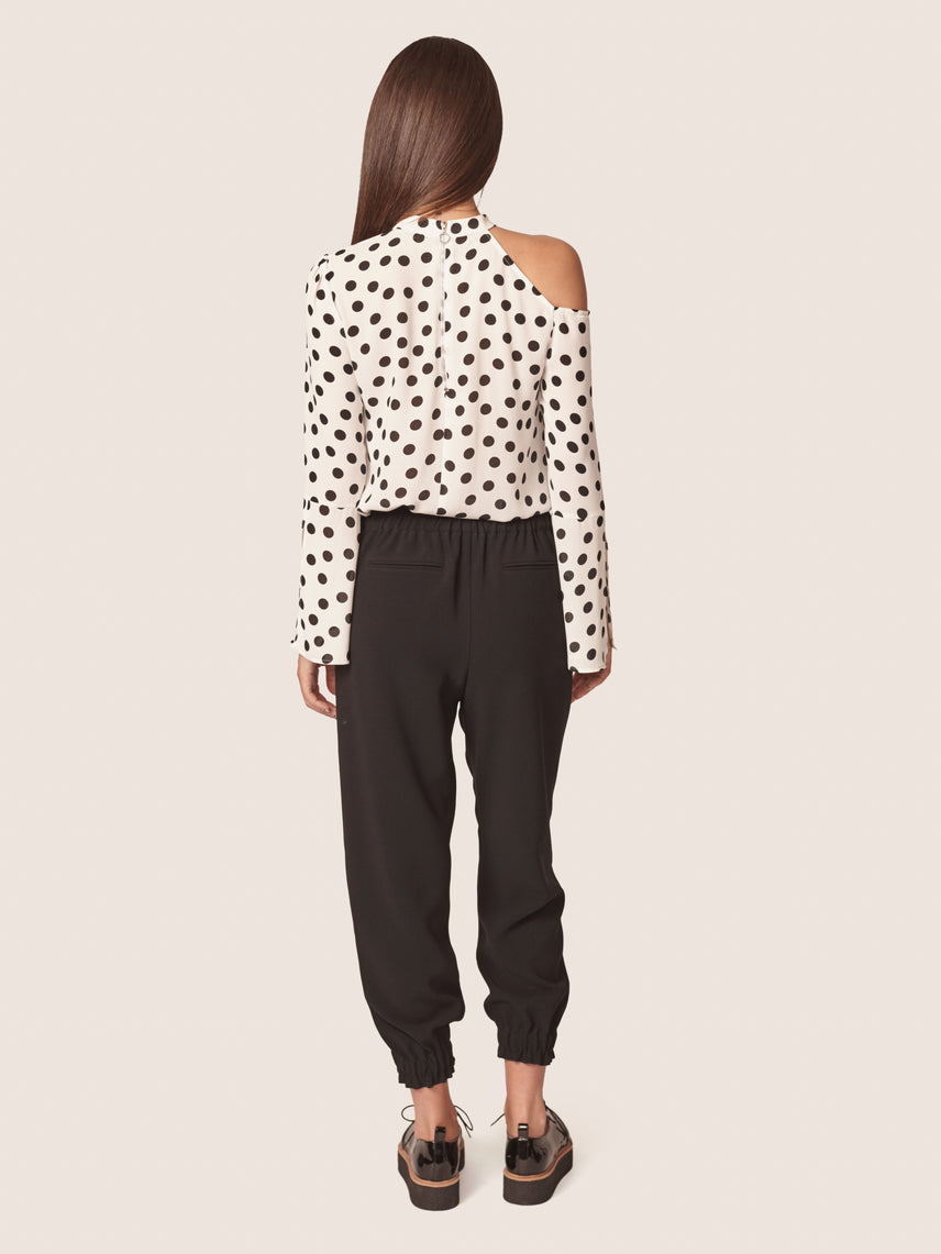 Polka dot print cut out shoulder blouse with split bell sleeves