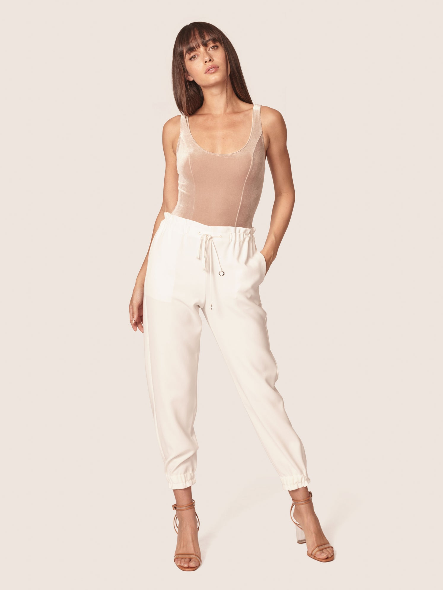 Shirred waist track pants with side pockets