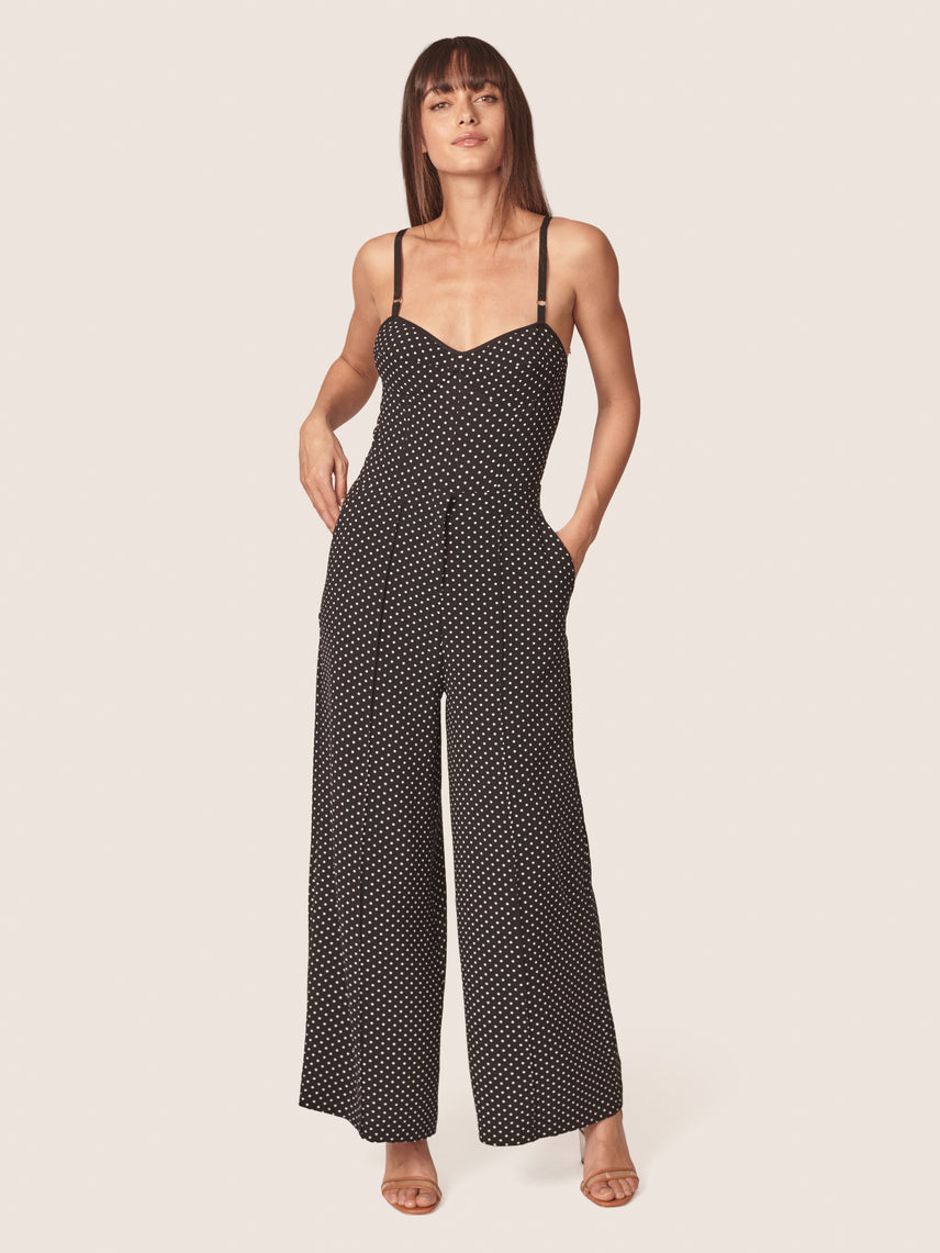 Polka dot printed high-waisted wide leg pant