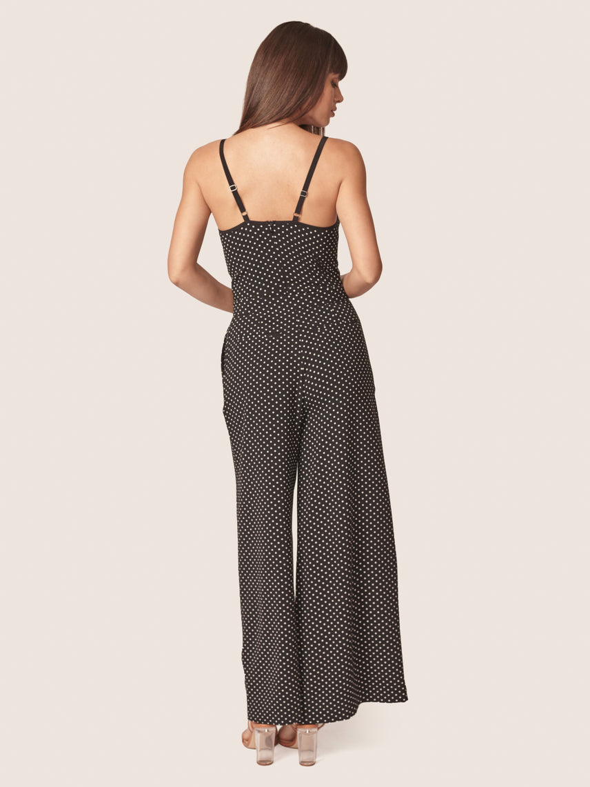 Polka dot printed high-waisted wide leg pant Alternate