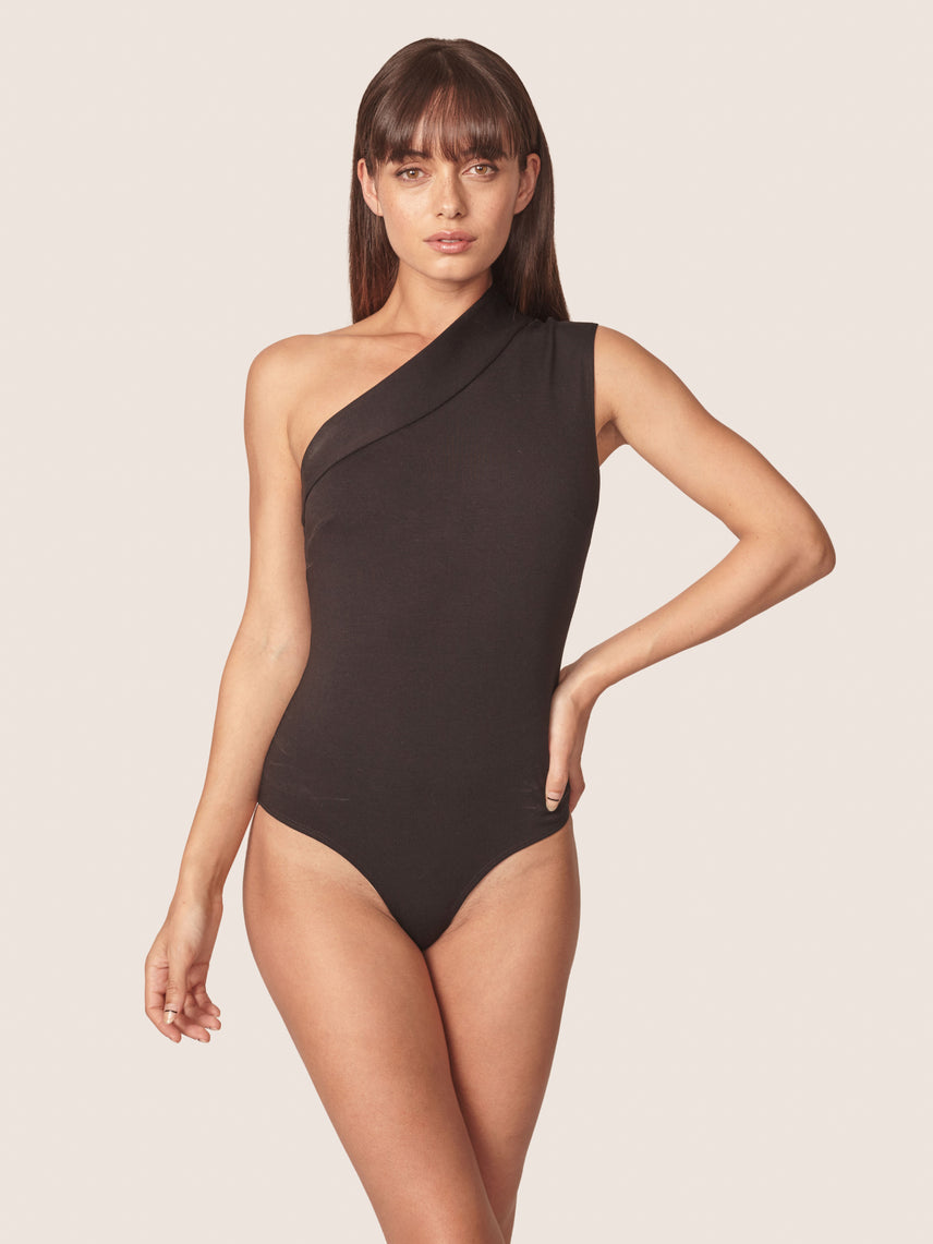 One shoulder bodysuit with bikini brief panty